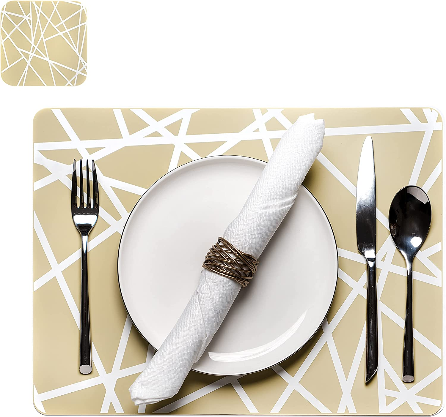 Silicone Placemats for Dining Table - Placemats Set of 4 and 4 Coasters - Multipurpose Use as Kids Placemats - Waterproof, Heat Resistant, Non-Slip Table Mats - Easy to Clean and %100 Food Grade