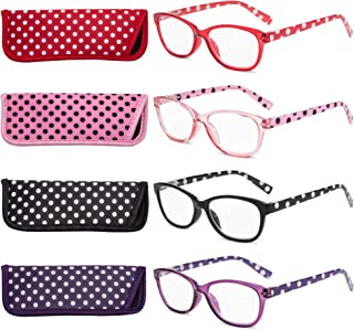 EYEGUARD Polka Dots Fashion Ladies Reading Glasses 4 Pairs High Quality Spring Hinge Readers for Women