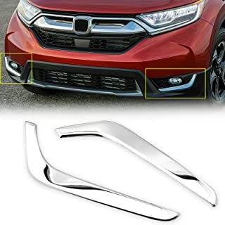 Xotic Tech Chrome Stainless Steel Front Fog Light Cover Trim Sticker for Honda CR-V 2017-2019