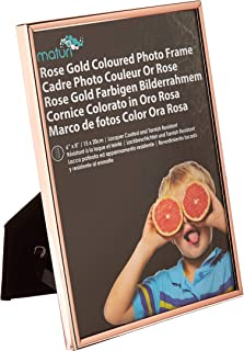 "Maturi Coloured Thin Edge Photo Frame-6"" x 8"" / 15 x 20 cm, Rose Gold, 6 x 8"