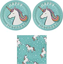 Unicorn Birthday Party Bundle for 20 Guests: 2 Items- Unicorn Plates and Napkins