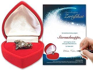 Stella cadente autentica in scatola a forma di cuore rosso, con certificato di stella cadente con spazio per la vostra fir...