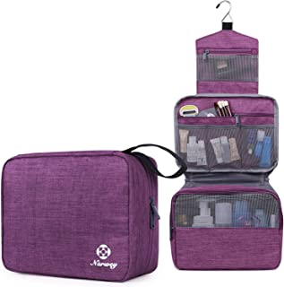 Hanging Travel Toiletry Bag Cosmetic Make up Organizer for Women and Girls Waterproof (D-Purple)
