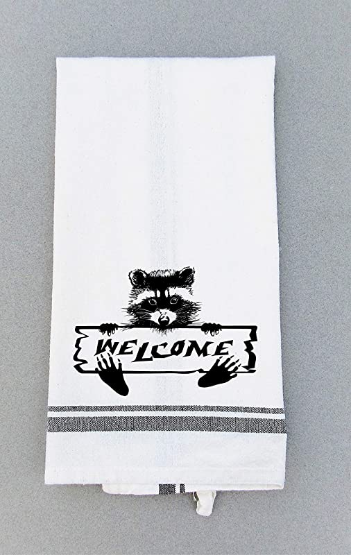 Raccoon Welcome Print Kitchen Bath Hand Towel