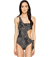 Jonathan Simkhai - Bandana Print Bandeau Cut Out Swimsuit