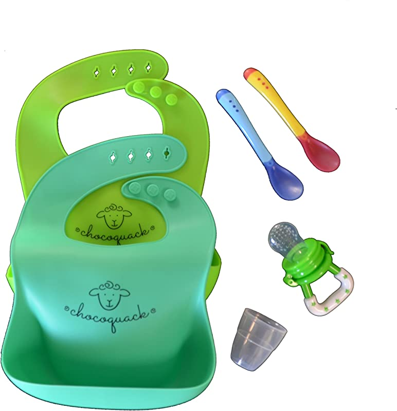Waterproof Silicone Baby Bib Combo Includes Two Soft And Light Weight Adjustable Bibs Two Baby Feeding Heat Sensing Spoons And A Baby Feeder For Healthy Teething