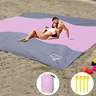 Gamegie Sand Proof Beach Blanket, Large Sand Free Beach Mat Oversized Waterproof Sandless Mat for Travel,Camping,Hiking and Music Festivals,Compact and Lightweight Sand Blanket