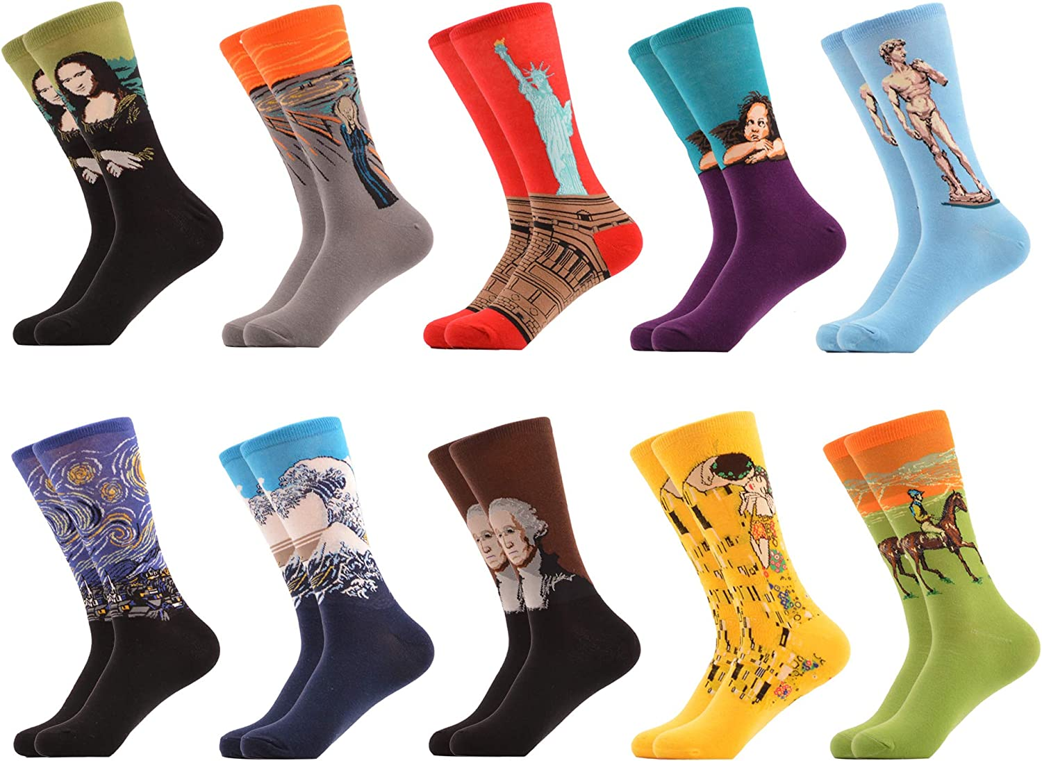 WeciBor Men's Dress Crazy Colorful Novelty Funny Casual Combed Cotton Crew Socks Pack
