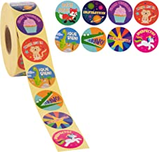 Blue Panda Reward Stickers - 1000-Count Spanish Encouragement Sticker Roll for Kids, Motivational Stickers with Cute Animals for Students, Teachers, Classroom Use, 8 Designs, 1.5 Inches Diameter