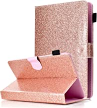 Universal 7 inch Tablet Case, ANGELLA-M Bling Glitter Sparkle Cover Multiple Viewing Angles Stand & Card Slots Case Huawei MediaPad T3 7.0 /Huawei MediaPad T1 7.0 /MediaPad T2 7.0- Rose Gold