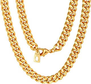 Franco Curb Link Chain,6mm Width, 316L Stainless Steel/18KG Gold Plated, 18-30