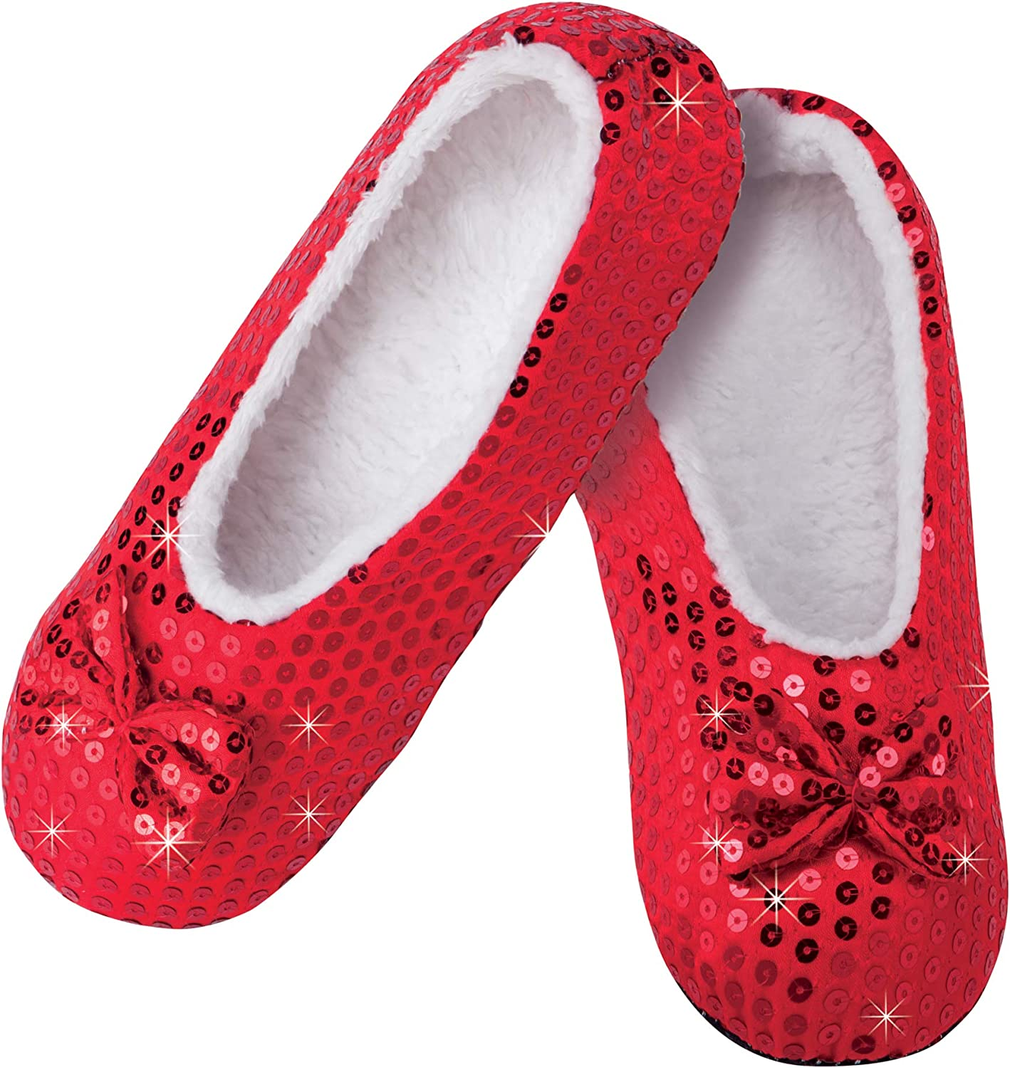 The Paragon Sequined Ballerina Slippers, Cozy and Non Slip, Size Medium Red