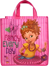 Disney Fancy Nancy Fancy Everyday Eco-Friendly Non-Woven Tote in Pink Vertical Stripes - Cute Seamless Gift Bag for Girls Small Sized Carry-All Character Themed Mini Reusable Basket (6 Items)