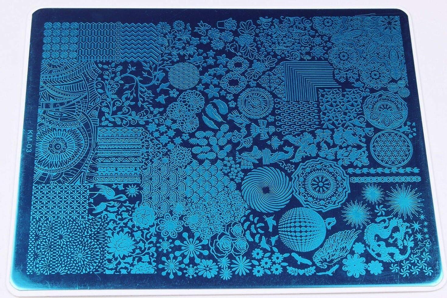 札入れリードあえてFidgetGear ネイル画像ネイルスタンピングプレートマニキュアネイルアートの装飾スタンピングプレート KM 03