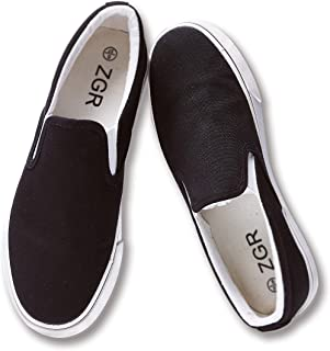 ZGR Womens Slip on Fashion Sneakers Black White Canvas Loafer Shoes Sneaker