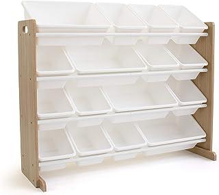 Humble Crew Extra-Large Toy Organizer, 16 Storage Bins, Universal, Natural/White