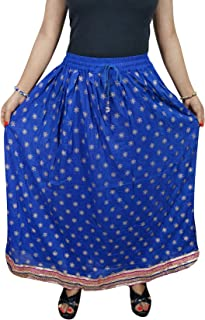 Mogul Interior Womans Maxi Skirt Blue Bohochic Gypsy A-Line Flare Rayon Long Skirts M/L