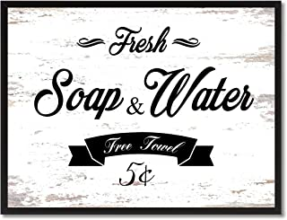 Fresh Soap & Water Vintage Sign Canvas Print with Picture Frame Home Decor Wall Art Collection Gift Ideas, White, 7