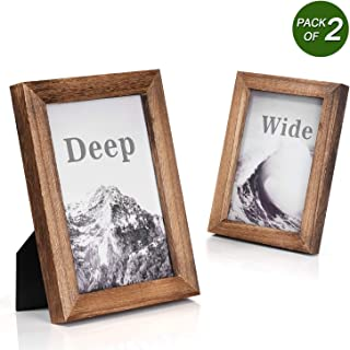 Emfogo Picture Frames 5x7 Solid Wood Photo Frames and High Definition Glass Display Pictures for Table Top Display and Wall Mount Wood