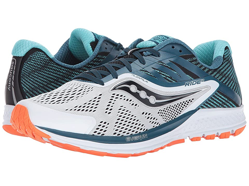 Saucony Ride 10 (White/Teal/Orange) Men