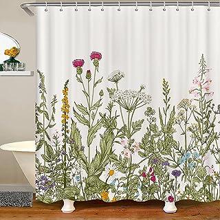 Sponsored Ad - Botanical Border Herbs Shower Curtains Green Eucalyptus Fabric Shower Curtain,Watercolor Floral Pattern Bat...