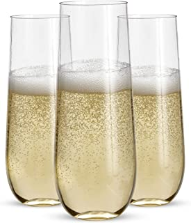 24 Stemless Plastic Champagne Flutes - 9 Oz Plastic Champagne Glasses | Clear Plastic Unbreakable Toasting Glasses |Shatte...