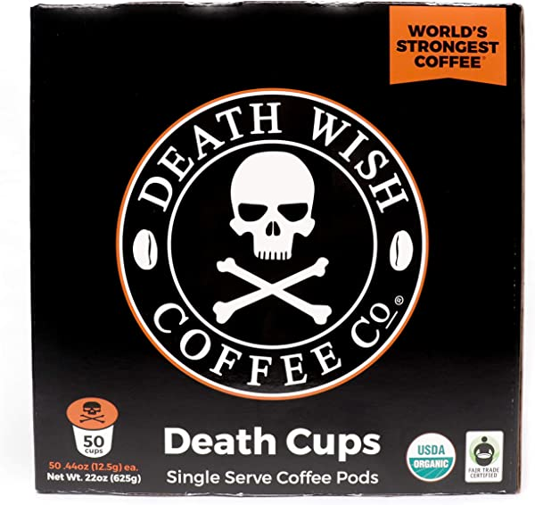 Death Wish Single Serve Coffee Pods For K Cup Style 2 0 Brewers USDA Certified Organic Fair Trade 50 Count Bulk Value