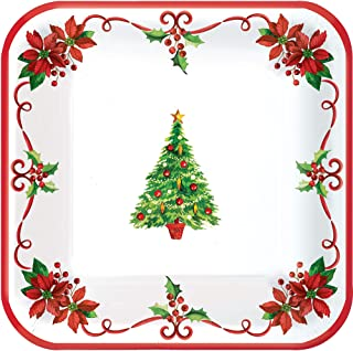 amscan Traditonal Square Paper Plates for Festive Christmas | Party Tableware