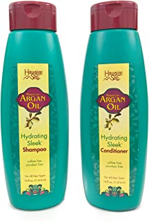 Hawaiian Silky Argan Oil Shampoo & Conditioner, 14 oz Each - 2 in 1 Set; Volumizing & Texturizing Paraben-Free and Sulfate-Free Wash for All Men, Women & Kids - Safe on Color Treated Scalp