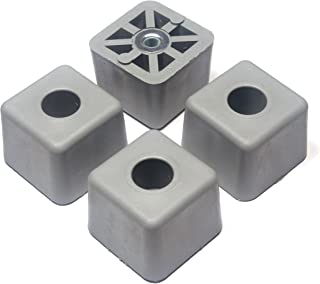 4 Large Gray Cube Square Rubber Feet Bumpers - 1.125 H X 1.500 W - Made in USA - Heavy Duty Non Marking for Furniture, Tables, Chairs, Desks, Benches. RoHS, Reach Compliant/Prop 65 Free