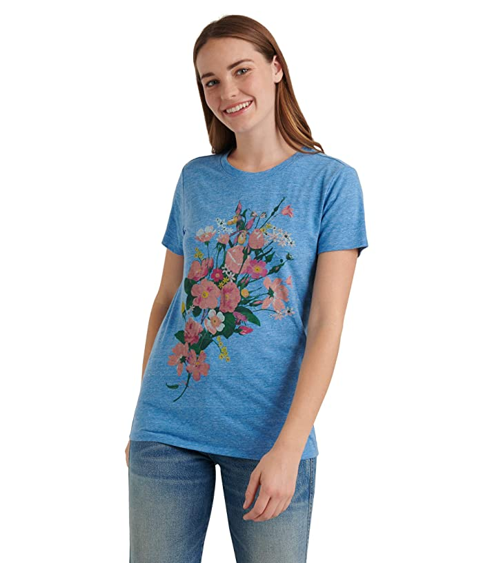 Lucky Brand  Short Sleeve Crew Neck Multicolored Bouquet Tee (Monaco Blue) Womens Clothing