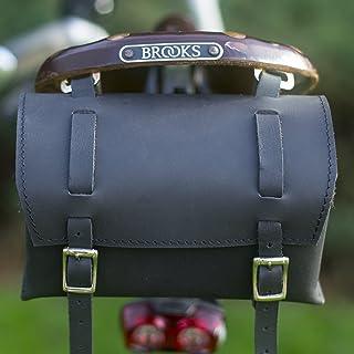 Satteltasche aus echtem Leder, für Fahrradwerkzeug, schwarz