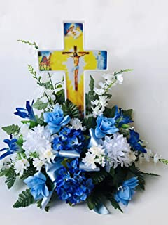 Solar Lighted Jesus Cross by Eternal Light | Illuminated Grave Marker Heartfelt Cemetery Decoration