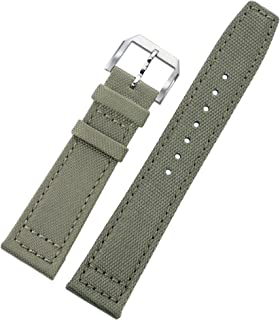 20mm Light Green Gray Ballistic Nylon Perlon Watch Bands Aviator NATO Diver Style 2 Pieces for Men with Soft Leather Lining