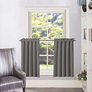 Aquazolax Half Window Blackout Curtain Tiers/Valance Rod Pocket Tailored Tier/Valance/Cafe Curtains, 2 Panels, W28 x L36 Inches, Grey