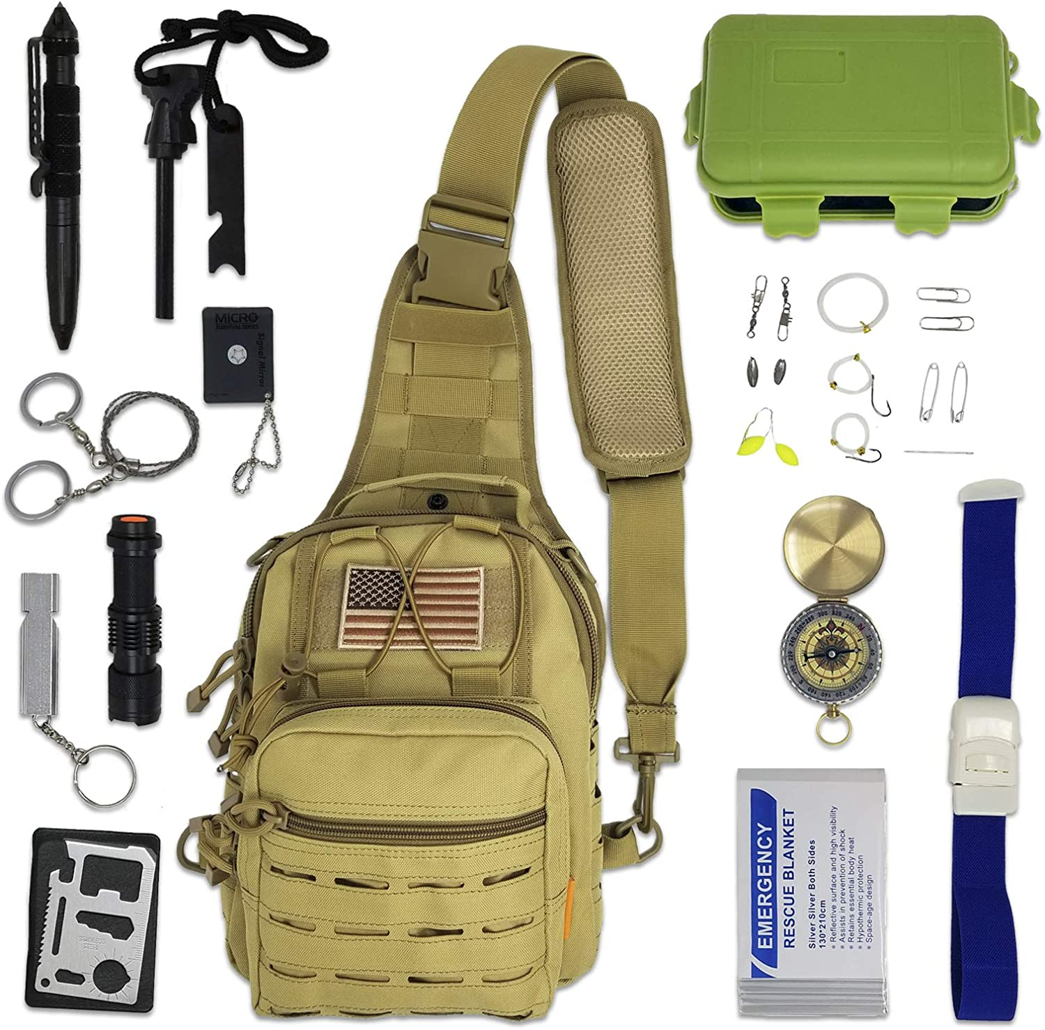 Bug Out Bag New Orleans Mall Survival Kit - Elegant Emergency Tactical Sling with Gea