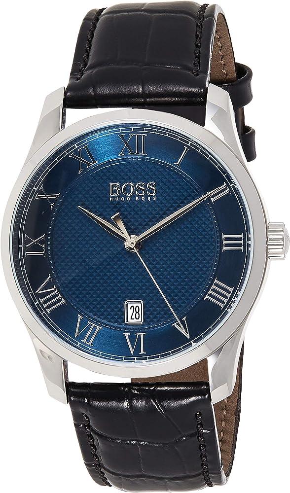 Hugo boss ,  orologio per uomo , in acciaio e cinturino in vera pelle al 100 % 1513741