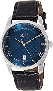 Hugo Boss Mens Quartz Watch, Analog Display and Leather Strap 1513741
