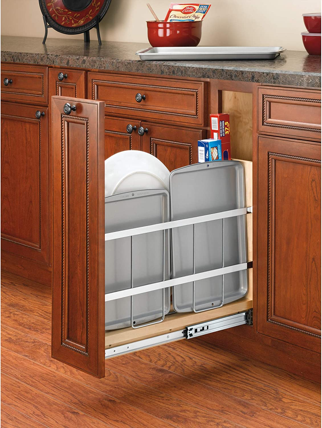 Buy Rev A Shelf 447 Bcbbsc 8c 447 Series 8 Inch Wide Pull Out Foil Wrap Sheet And Tray Divider Cabinet Organizer For Kitchen Base Cabinets Online In Vietnam B00nbygz1u