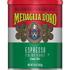 Medaglia D'Oro Italian Roast Espresso Style Ground Coffee, 10 Ounces (Pack of 12)