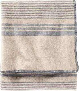 Pendleton - Eco-Wise Washable Wool Blanket, Irving Stripe Taupe, Twin