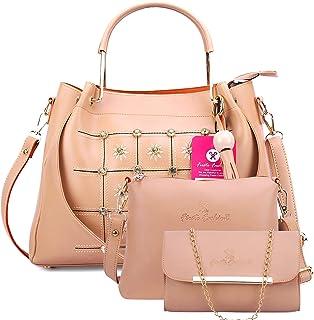 Fiesto Fashion Women's Satchel With Sling Bag & Clutch (Set of 3) (FIESTO38_Beige)
