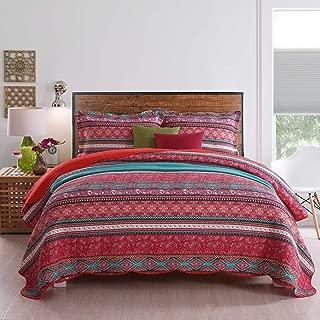 Best Quilt Set, 100% Cotton Striped Pastoral Bedspread Bedding Cover Queen Size 3-Pieces