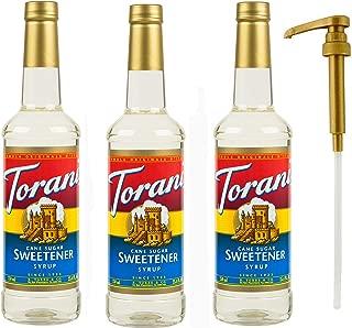 Torani Cane Sugar Sweetener Syrup, 25.4 oz (3 pack) Plus One Syrup Pump