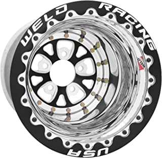 Weld Racing 84B-512212MB Weld Pro Drag V-Series; Size 15x12 in.; Bolt Pattern 5x4.5 in.; -12.7 Offset; Back Spacing 6 in.; Black Center; Polished Shell; Black Ring; Bore Diameter 3.18in./80.772mm.;