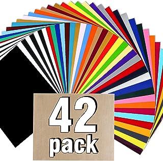 "HTV Heat Transfer Vinyl Bundle : 42 Pack 12"" x 10"" Sheets Iron on Vinyl,30 Assorted Colors Heat Transfer Vinyl for DIY Iron on Fabrics T-Shirts"