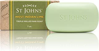 West Indian Lime Soap for Men. 7oz Luxury Bath, Shower Soap Bar by St Johns. 3X Triple Milled for fragrant creamy lather with Glycerine. Best Smelling Bath Soap for Guys. Best Seller. Made in U.S.A.