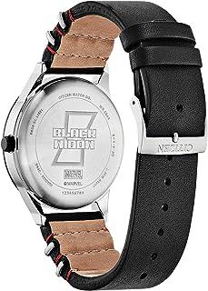 ساعة سيتزن مارفل كلاسيك ستانلس ستيل كوارتز مع سوار جلد عجلة، اسود، 20 موديل (BV1138-01W)