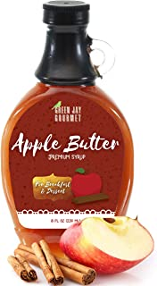 Green Jay Gourmet Apple Butter Syrup - Premium Breakfast Syrup with Sweet Apples, Spices & Lemon Juice - All-Natural, Non-GMO Pancake Syrup, Waffle Syrup & Dessert Syrup - 8 Ounces