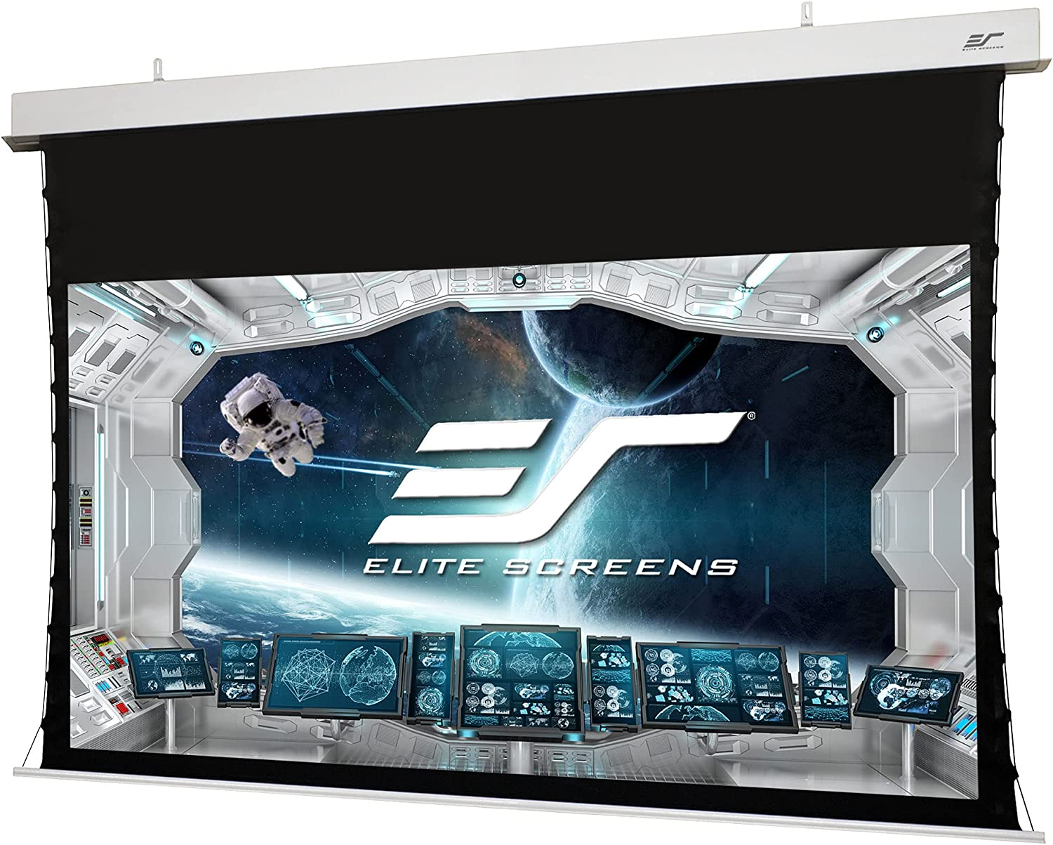 Elite Screens Evanesce Tab-Tension B 115 Inch Projector Screen, Diagonal 16:9, Electric Recessed in-Ceiling Tensioned Ceiling/Ambient Light Rejecting (CLR/ALR) Projection Screen, ETB115H5D-E8